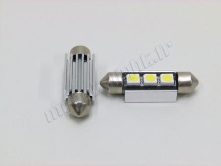 Eclairage plaque Led Navette C5W/C7W - 3 LED - Anti Erreur ALU OBD