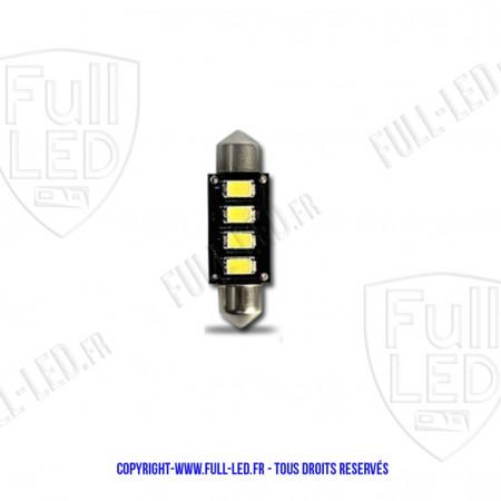 Led Navette 38mm - C5W - 3 LED - Anti Erreur ODB ALU - Rouge