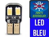 Ampoule Led W5W BLEU - Dual Face 4 - Anti-erreur ODB