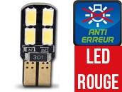 Ampoule Led W5W ROUGE - Dual Face 8 - Anti-erreur ODB